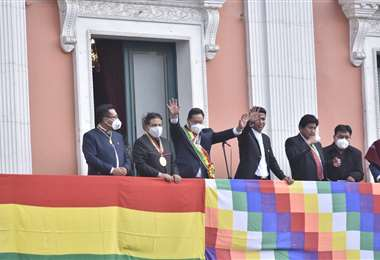 Luis Arce y David Choquehuanca en el desfile cívico-militar. Foto: APG Noticias