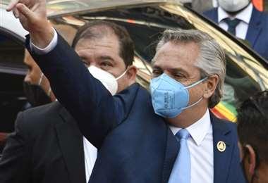 Alberto Fernández asistió a los actos del presidente Luis Arce en La Paz. Foto: AFP