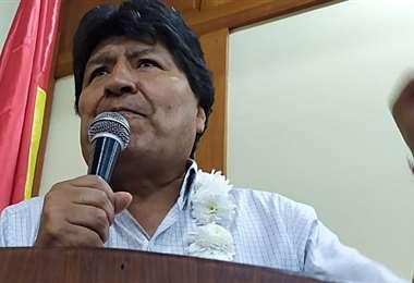 El expresidente Evo Morales inauguró el ampliado del MAS. Foto: ABI