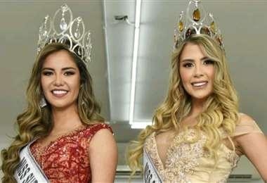 Luz Claros y María José Terrazas luego de ser coronadas en Promociones Gloria