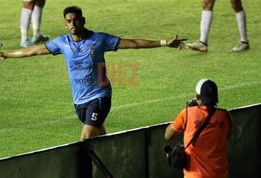 Carrasco celebrando su gol. Foto: Jorge Gutiérrez