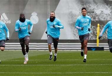 El Real Madrid durante el entrenamiento. Foto: @realmadrid