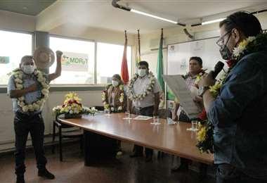 Arias jurando como director del INRA en Santa Cruz/Foto: INRA