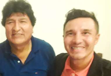 Evo Morales junto a Pedro García/Foto: Pedro García