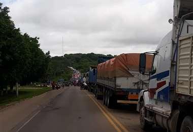 Bloqueo de ruta en Buena Vista/foto: Soledad Prado