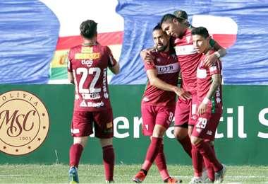 Galindo celebrando su gol. Foto: APG Noticias