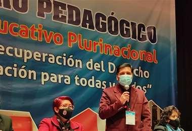 El ministro, Adrián Quelca, en el discurso de clausura en el evento (Foto: MinEducación)
