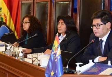 El ministro de Economía en el hemiciclo del Senado (Foto: Senado)