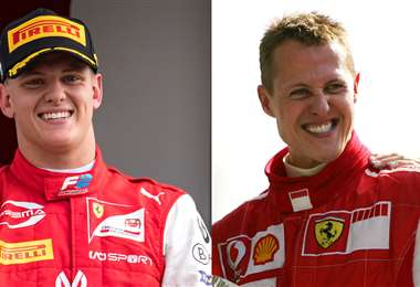 Mick y Michael. La dinastía Schumacher seguirá viva en la F1 desde el 2021. Foto: AFP