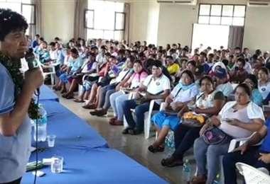 Evo Morales en la reunión de Lauca Ñ (Foto: captura de pantalla)