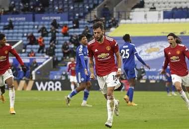 Bruno Fernandes celebrar el segundo gol del United. Foto: AFP