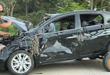 Fatal accidente en zona del Urubó/Foto: RRSS