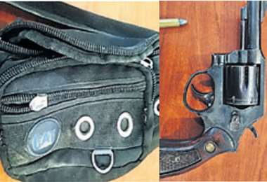 El arma y la bananera que la Felcc decomisó a los hermanos