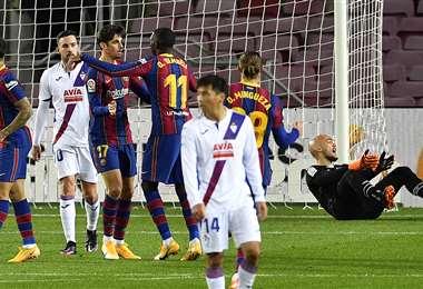 Dembelé celebrando el único gol del Barcelona. Foto: AFP