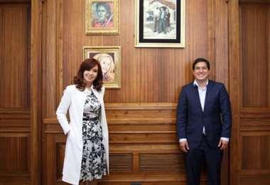 Cristina Kirchner recibió en su despacho a Andrés Aráuz Galarza, candidato a presidente