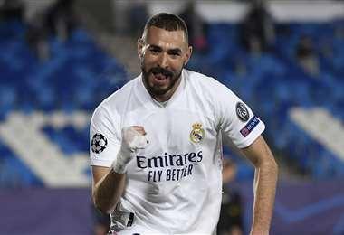 Benzema celebrando uno de sus goles. Foto: AFP