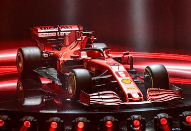 Este hermoso Ferrari entrará en acción a partir del 15 de marzo en Australia cuando se levante la bandera a cuadros de 2020. Foto. AFP