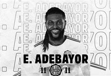 Adebayor, es el fichaje estrella del fútbol paraguayo. Foto. Internet