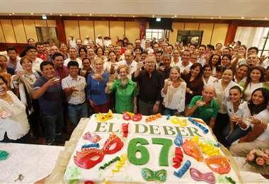 Festejo por los 67 años de EL DEBER (Foto: Jorge Gutiérrez)