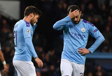 La bronca de los jugadores del City refleja lo que pasa con el club en estos momentos. Foto. AFP