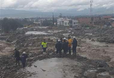 La emergencia continúa en el municipio cochabambino de Tiquipaya | Foto: Ministerio de Comunicación