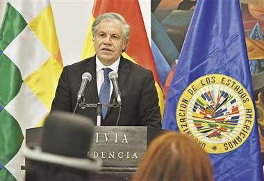 Luis Almagro, secretario general de la OEA, cuando presentó el informe del fraude, en diciembre de 2019. Foto: Archivo