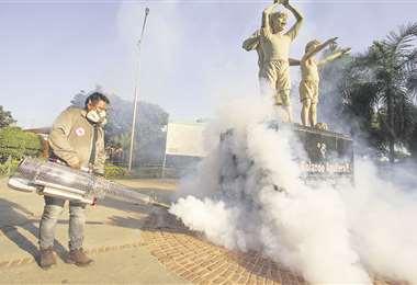 Ejecutaron tareas de erradicación del mosquito adulto en la zona de la Academia Tahuichi Aguilera. Foto: JORGE IBÁÑEZ