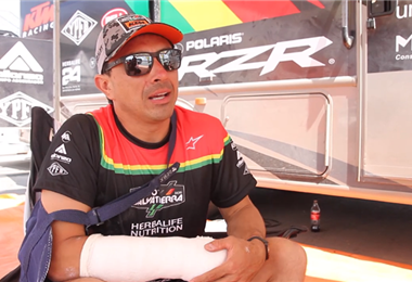 Juan Carlos Salvatierra abandonó la competencia en Argentina tras sufrir un accidente. Foto. Prensa Chavo Salvatierra