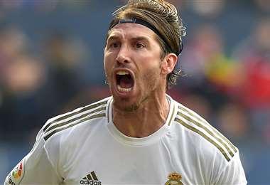Sergio Ramos celebrando su gol. Foto: AFP