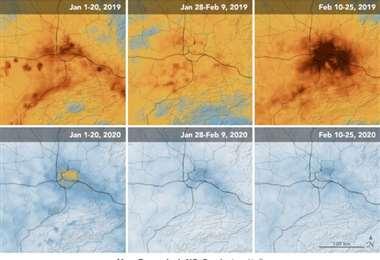 Comparación entre la presencia de contaminantes en enero y febrero de 2019 y de 2020.