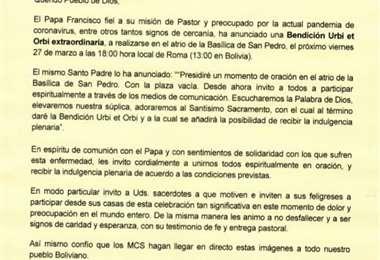 El arzobispo de Santa Cruz Sergio Gualberto invita a unirse a la celebración con el papa