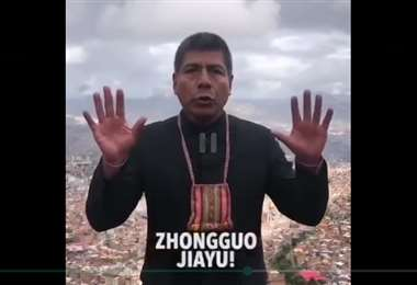 El excanciller durante el mansaje que envió a China/Captura de video