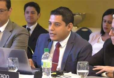 El ministro de Justicia estuvo en Puerto Principe. Foto: ABI