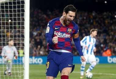 Messi celebra su gol, que sirvió este sábado para el triunfo del Barcelona. Foto: Internet