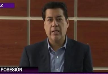 Andrés Rojas fue posesionado este lunes / Imagen captura Bolivia TV