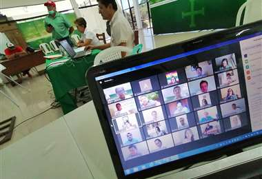 La Asamblea sesionó a través de pantallas / Foto: Hernán Virgo
