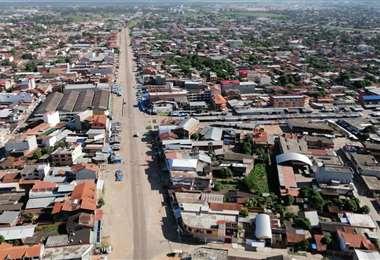 Una vista aérea del cumplimiento del encapsulamiento en Montero. Foto: Hernán Virgo