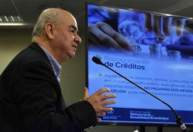 El ministro de Economía, José Luis Parada, habló de los esfuerzos que hace el Gobierno para apoyar el aislamiento social/Foto: APG Noticias