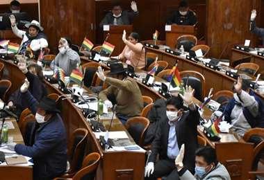 Los legisladores en la Asamblea durante una sesión en época de pandemia. Foto: APG