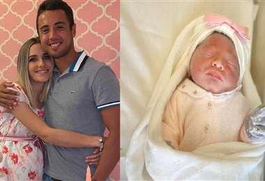 Hugo Dellien y su esposa Camila Giangreco y a la derecha Mila, que nació el 25 de abril. Foto: Internet
