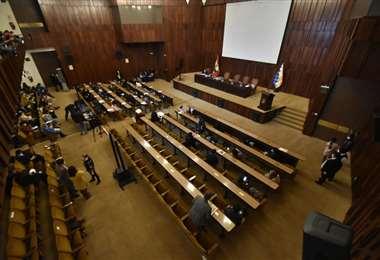 La Asamblea intentó sesionar en el auditorio del BCB (Foto: APG Noticias)