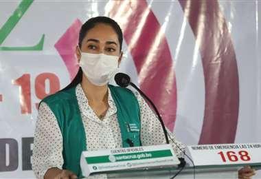 Tatiana Áñez, directora del COED, en conferencia de prensa