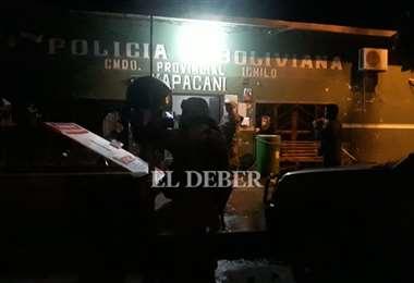 Destrozos en la comisaría de Yapacaní