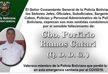 El cabo Ramos es el tercer policía fallecido durante la pandemia.