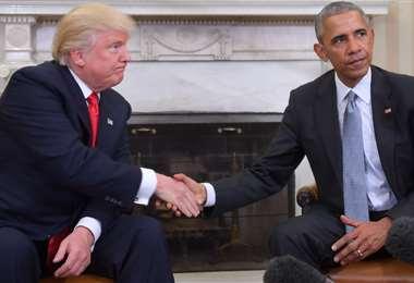 Trump y Obama en la época de transición. Foto AFP