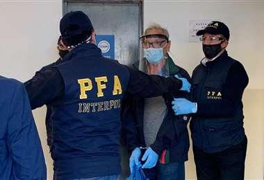 Gonzalo Sánchez a su llegada a la Superintendencia de Investigaciones Federales. Foto Internet