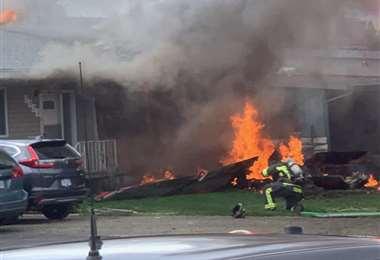 El aparato en llamas. Foto Internet