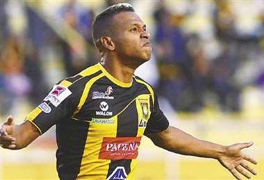 Jair Alejandro Reinoso Moreno defiende al Tigre desde el 2019. Es uno de los goleadores de su equipo. Foto: El Deber
