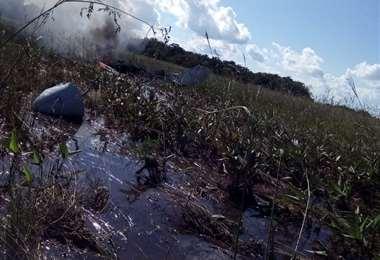 La zona donde se precipitó la aeronave es poco accesible (Foto: Gobernación de Beni)