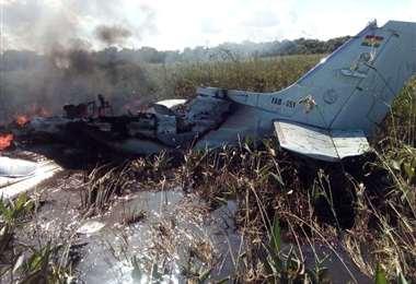 La aeronave siniestrada (Foto: Gobernación de Beni)